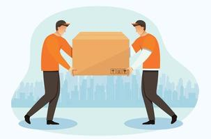 Delivery courier man with a box Delivery of goods vector