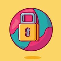world lockdown concept symbol isolated cartoon illustration in flat style vector