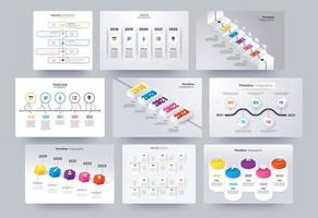 Timeline infographics template collection vector