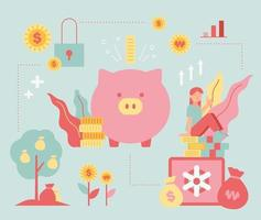 Piggy bank and wealth management vector