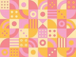 Circular pieces are creating patterns in a square mosaic grid vector