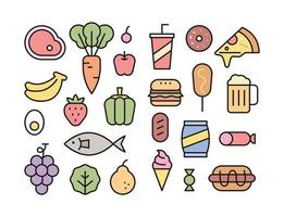 Fresh ingredients and high calorie foods icon collection vector