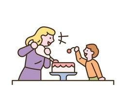 The mother and child are making a cake together vector