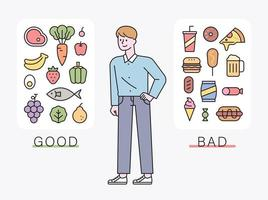 A man sorts diet-friendly foods and high-calorie foods vector