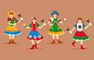 Set of Woman Character for Festa Junina vector