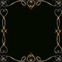 Vector golden frame with hearts effects of light