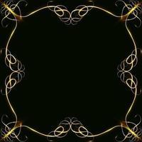 Marcos de oro con corazones con deslumbramiento y resplandor en blanco para una tarjeta aislada en el espacio de copia de tarjeta de boda negra vector