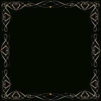 Marcos de oro con corazones con resplandor y resplandor en blanco para una tarjeta aislada en tarjeta de boda negra vector