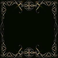 Marcos dorados con corazones con reflejos y resplandor en blanco para una tarjeta aislada en negro vector