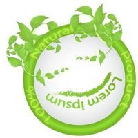 Green natural product logo with leaf frame vector