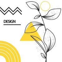 Square geometric leaves design background vector