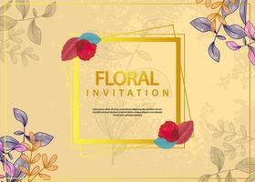 Watercolor floral wedding invitation background vector