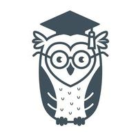 smart owl with glasses flat vector illustration isolated on white background