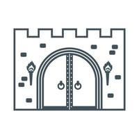 old wooden castle gate on a white background flat vector illustration
