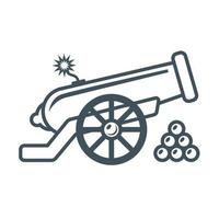 old military cannon with a lit wick flat vector illustration