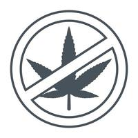 emblem stop marijuana crossed out plant vector