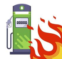 big fire next to the gas station flat vector illustration