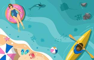 Summer Activity at the Beach Concept vector