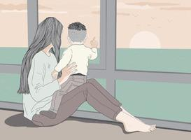 Mother and baby boy watching the sun fall in the blue ocean landscape vector
