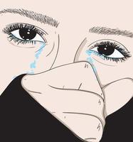 niña llorando decepcionada por la vida personal vector
