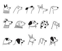 Cartoon cute dog faces vector