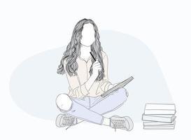 niña sentada y leyendo un libro vector