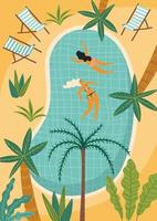 Vector illustration of tropical beach and swimming pool