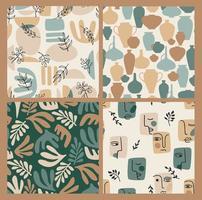 Set of contemporary art seamless patterns Line art Modern design vector