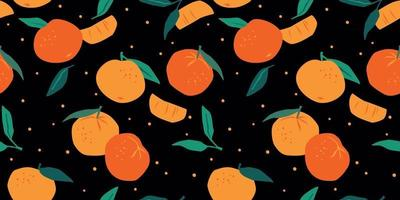 Vector seamless pattern with mandarins Trendy hand drawn textures  Modern abstract design