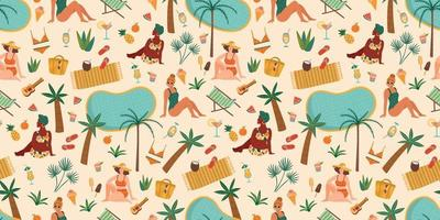 Vector seamless pattern with women in swimsuit on tropical beach. Summer holliday vacation travel