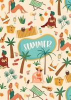 Vector illustration of women in swimsuit on tropical beach. Summer holiday vacation travel