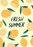 Vector illustration with lemons. Summer holiday juice fruit citrus
