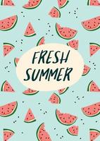 Vector illustration with watermelons. Summer holiday juice fruit