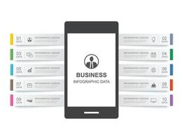 Smartphone infographic template with 10 data for business vector