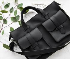Black leather bag photo