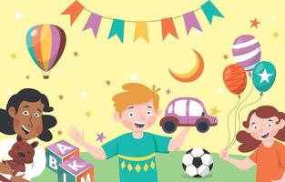 Kids Play Together Concept vector