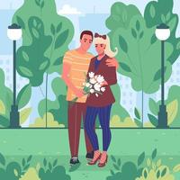Young couple on a walk in a city park in spring or summer on a date Flat vector illustration