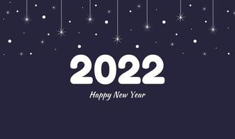 Postcard or banner Happy New Year 2022 in dark blue with garland stars and snow Vector festive background