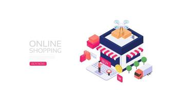 Isometric online shopping vector