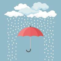 Red umbrella with rain drops vector