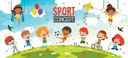 diseño de concepto de deporte con niños divertidos vector