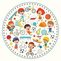 Sport Concept Design With Funny Children vector