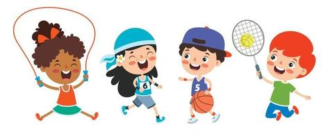 Happy Kids Making Various Sports vector