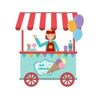 Girl selling ice cream in a summer cafe kiosk vector illustration in flat style