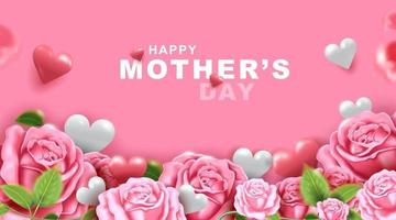 Mothers day greeting card with beautiful blossom flowers background vector