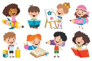 concepto de educación con niños de la escuela divertidos vector