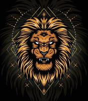 vector lion head gold with ornament background for t shirt design