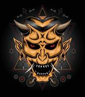 devil mask illustration with sacred symbol in Japanese style vector