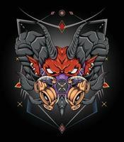 Dark art devil head illustration for t shirt clothing merchandise vector