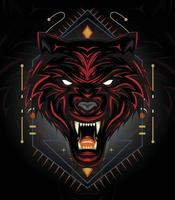Red wolf logo design or angry wolves illustration with dark style vector